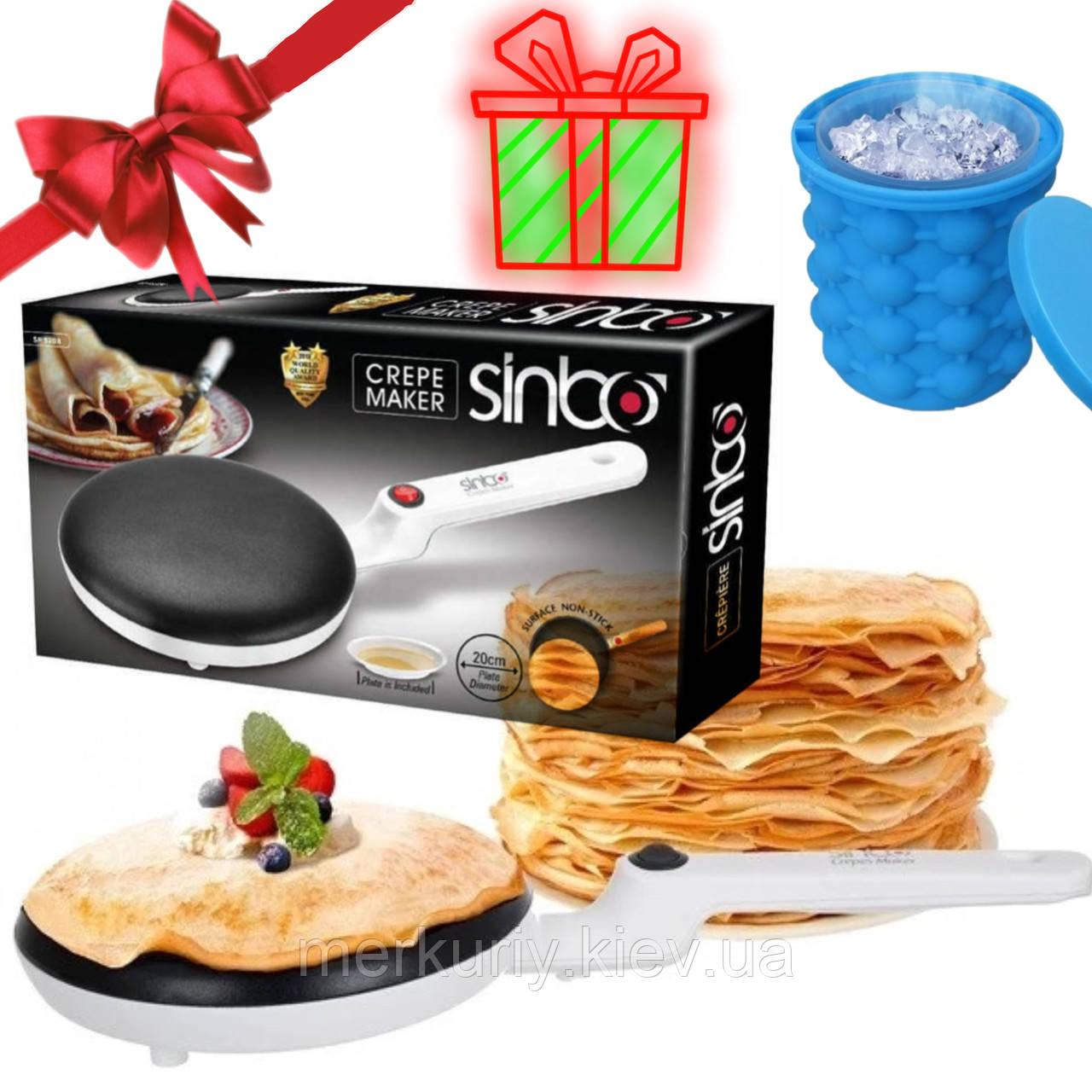 Електрична сковорода блінна скоровідка млинниця від розетки SINBO 5208 сковорода для млинців CREPE MAKER 20 см