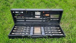 """Набір з 8 шампурів з кованої ручкою """"Канат"""" (670х12х3 мм) + подвійний шампур + комплект, в дерев'яному кейсі"""