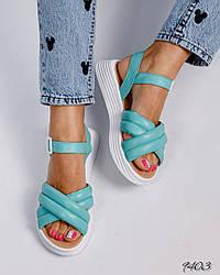 Женские бирюзовые дутые сандалии натуральная кожа