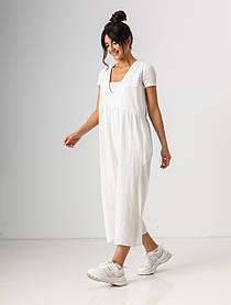 Ультрамодный легкий летний комбинезон свободного кроя с карманами в 4 цветах в размерах S/M,L/XLXL. Белый