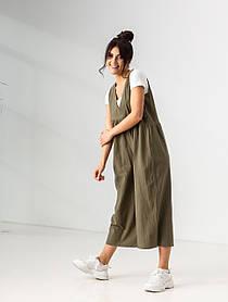 Ультрамодный легкий летний комбинезон свободного кроя с карманами в 4 цветах в размерах S/M,L/XLXL. хаки
