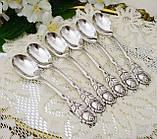 Шесть посеребренных кофейных ложечек с розочкой на ручке, серебрение 100, Германия, AROTAN, фото 2
