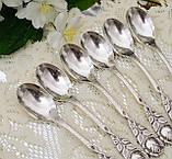 Шесть посеребренных кофейных ложечек с розочкой на ручке, серебрение 100, Германия, AROTAN, фото 3