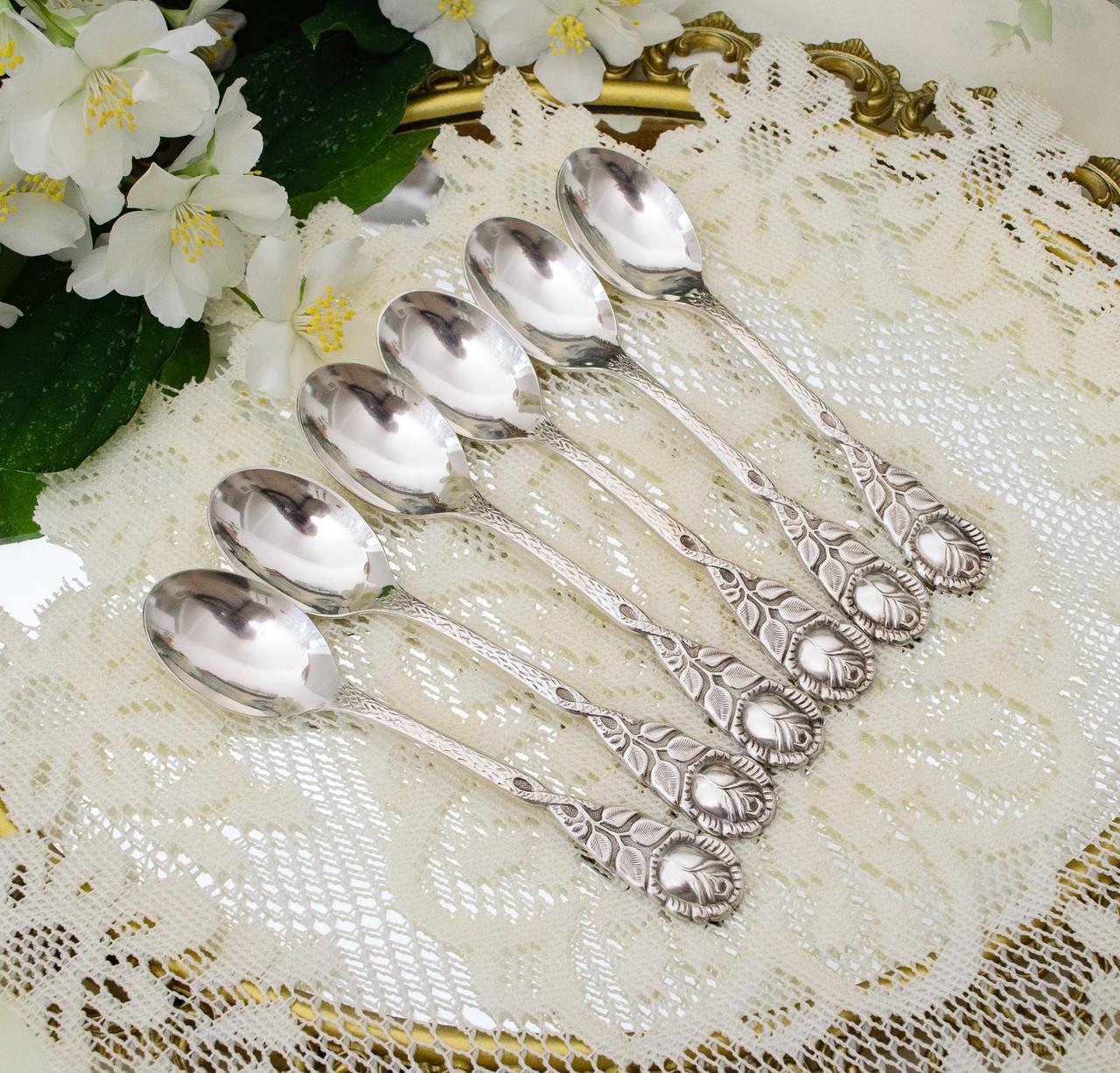 Шесть посеребренных кофейных ложечек с розочкой на ручке, серебрение 100, Германия, AROTAN