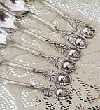 Шесть посеребренных кофейных ложечек с розочкой на ручке, серебрение 100, Германия, AROTAN, фото 4