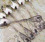 Шесть посеребренных кофейных ложечек с розочкой на ручке, серебрение 100, Германия, AROTAN, фото 8