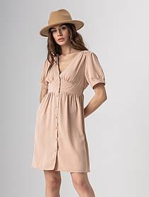 Летнее короткое однотонное платье с V-вырезом и на пуговицах в 4 цветах в  размерах S-M, L-XL