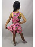 Річний рожевий трикотажний сарафан для дівчинки з метеликами, фото 2