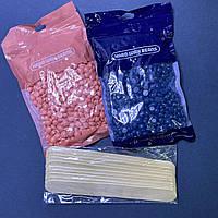 Набір для депіляції віск гранули 2шт по 100гр + шпателі дерев'яні 10 шт