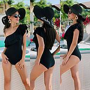 Жіночий купальник злитий з подвійним воланом на одне плече, фото 2