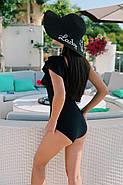 Жіночий купальник злитий з подвійним воланом на одне плече, фото 3