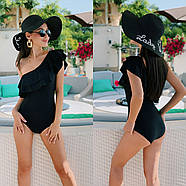 Женский купальник слитный с двойным воланом на одно плече, фото 6