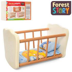 Ліжечко - качалка для ляльки FS 04 дерев'яна, біла