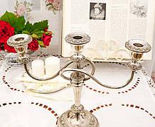 Посеребренный подсвечник на три свечи, канделябр, серебрение по меди, винтаж, Англия, Ianthe, Silver Plate