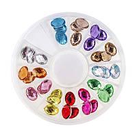 """Декор для ногтей в контейнере """"карусель"""", камни фигурные, 12 цветов, d=7 мм, 36 шт"""