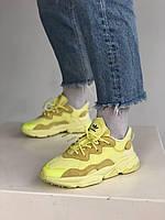 Кроссы Адидас Озвиго модные кроссы девушке. Яркие желтые кроссовки женские Adidas Ozweego Yellow.