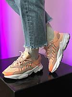 Оранжевые кроссовки женские Adidas Ozweego Orange. Летные кроссы для девушки Адидас Озвиго.