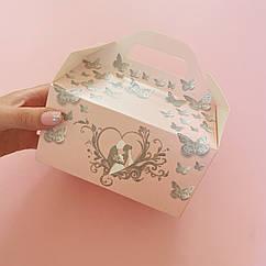 Коробки для подарков гостям нежно-розовая с глиттером