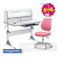 Комплект для девочки растущая парта Cubby Nerine Grey + кресло FunDesk Pratico Pink