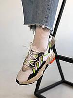 Женские кроссы Адидас Озвиго. Кроссовки белые с салатовими вставками кроссовки Adidas Ozweego Adiprene Pride.