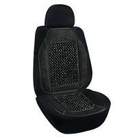 Накидка-массажер на сиденье Elegant круглая косточка 47х100 черная (106453)