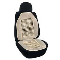 Накидка-массажер на сиденье Elegant круглая косточка 47х100 беж