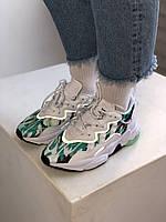 Светлые кроссовки с яркими вставками Adidas Ozweego Adiprene Pride. Женские кроссы Адидас Озвиго рефлектив.