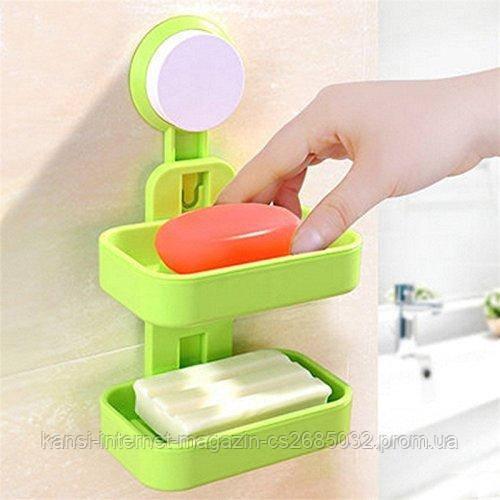 Мильниця на присоску подвійна Soap Box Double Layer