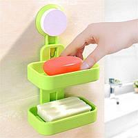Мильниця на присоску подвійна Soap Box Double Layer, фото 1