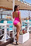 Жіночий стильний купальник з сіткою злитий на бретелях з відкритою спиною, фото 3