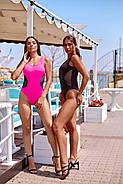 Жіночий стильний купальник з сіткою злитий на бретелях з відкритою спиною, фото 5
