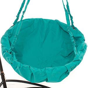 Садовые подвесные качели Kospa без подставки прямоугольная подушка 150 кг - 96 см Бежевый Бирюзовый, фото 2