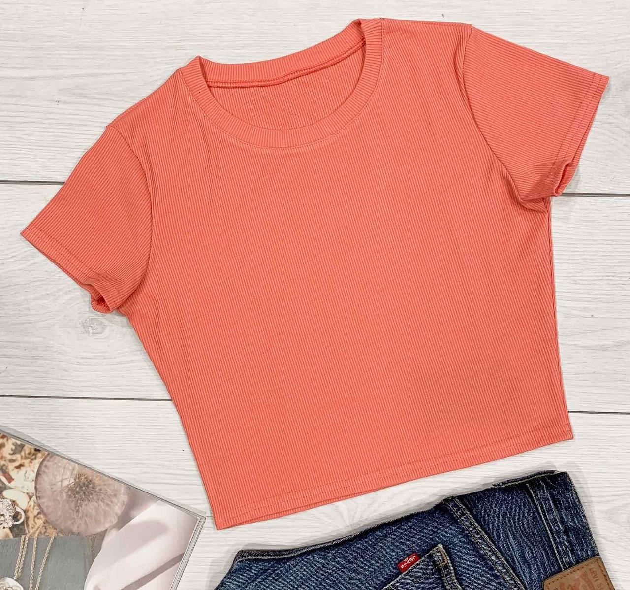 Футболка женская на лето персикового цвета.