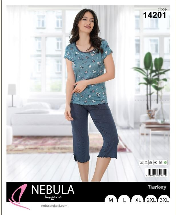 Домашний костюм женский футболка с капри  NEBULA 14201 размеры норма и полубатал