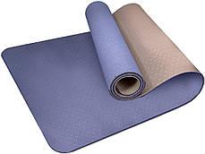 Килимок для йоги та фітнесу PowerPlay 4150 Premium TPE 183 * 61 * 0.6 см Синій