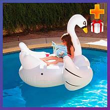Надувний пліт для катання Intex 56287 Білий лебідь 194x152x147 см + подарунок