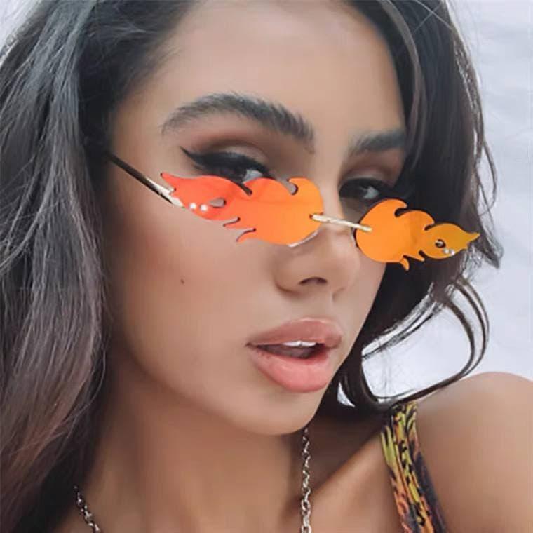 Сонцезахисні окуляри вогонь полум'я на рейв на фотосесію жіночі чоловічі окуляри унісекс оригінальні