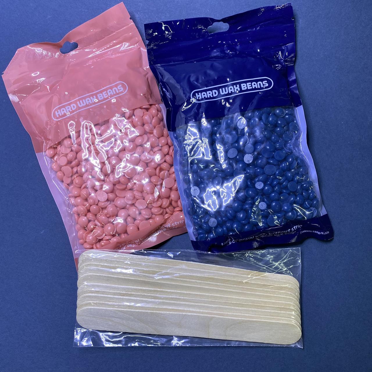 Набор для депиляции воск гранулы 2шт по 100гр +  шпатели деревянные 10 шт
