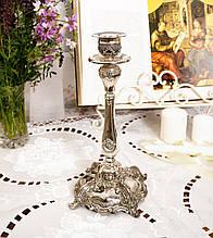 Посеребренный каминный подсвечник, серебрение по латуни, винтаж, Англия, Silver Plate