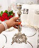 Посеребренный каминный подсвечник, серебрение по латуни, винтаж, Англия, Silver Plate, фото 2