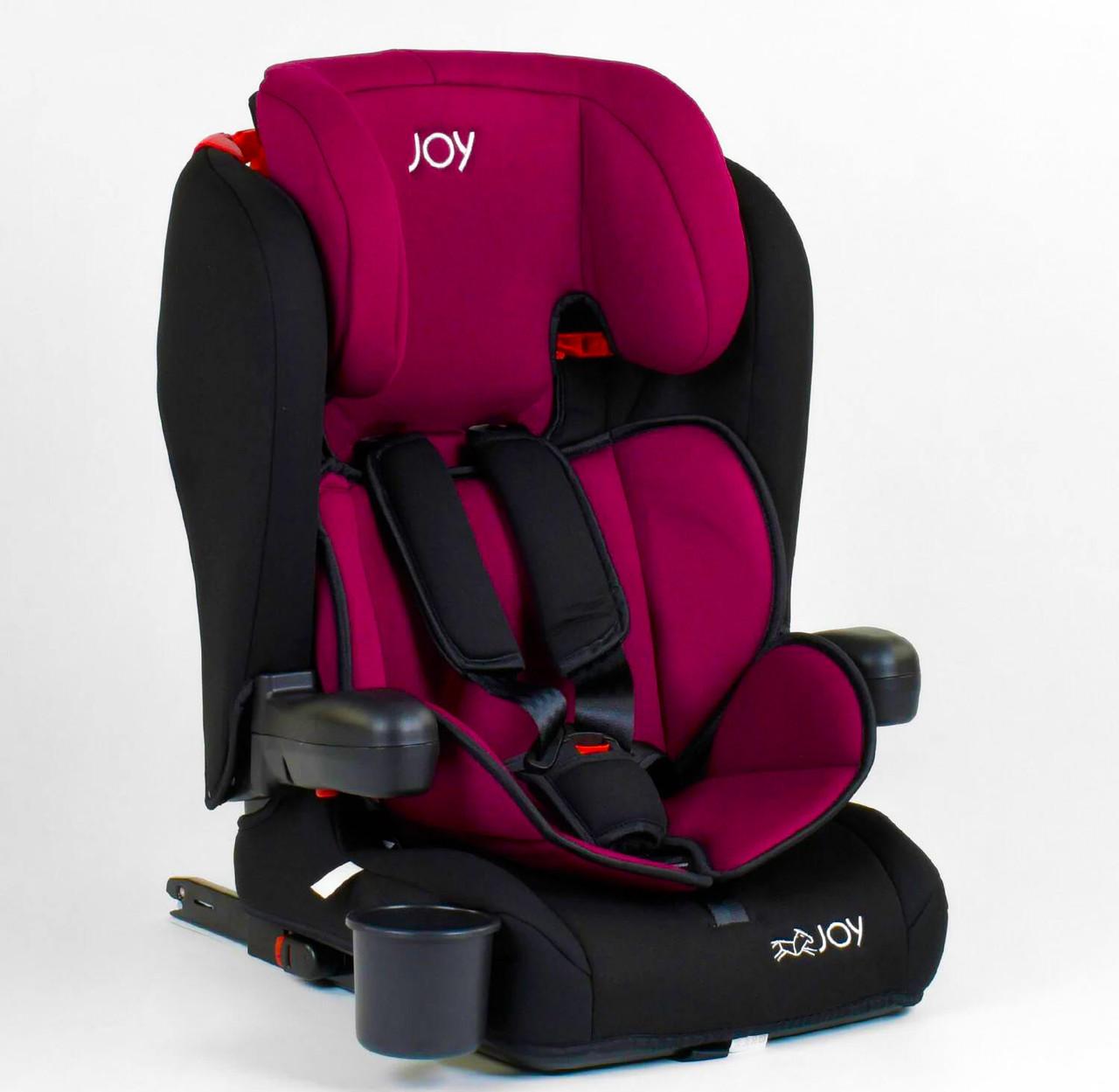 Дитяче автокрісло JOY система ISOFIX універсальне Чорно вишневий колір
