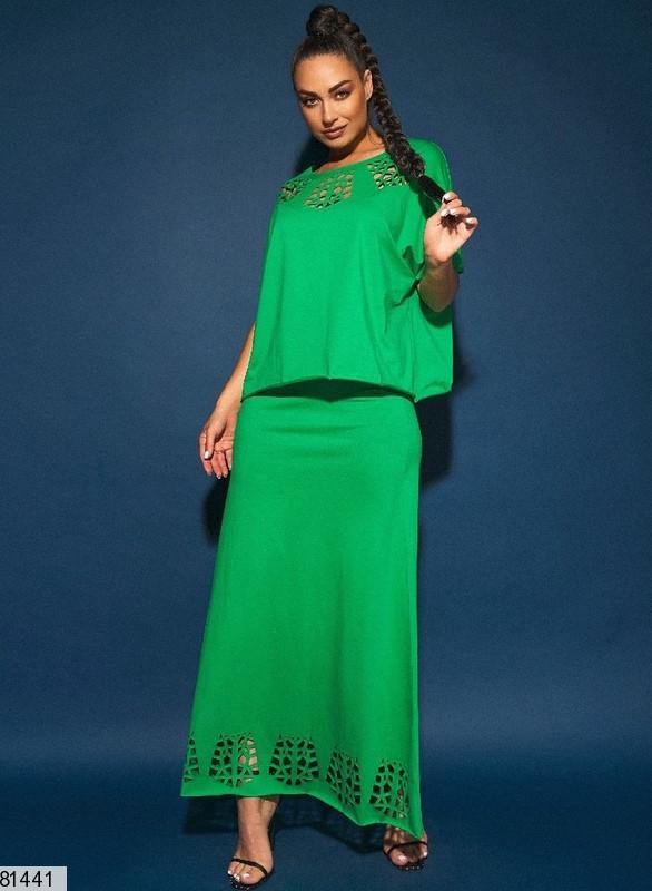 Жіночий трикотажний костюм з довгою спідницею розміри: 50-56