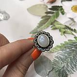 Лунный камень кольцо с натуральным камнем лунный камень в серебре. Кольцо с лунным камнем размер 18 Индия, фото 3