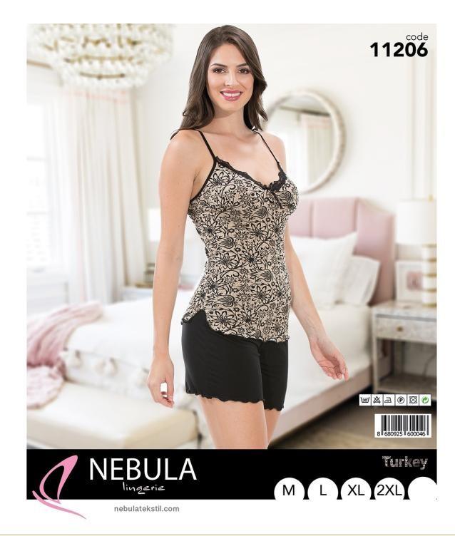 Піжама річна жіноча футболка c шортами NEBULA 11206