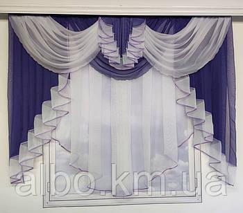 Вуаль занавеска с ламбрекеном ALBO 200x160 cm Фиолетовая (KU-178-21)