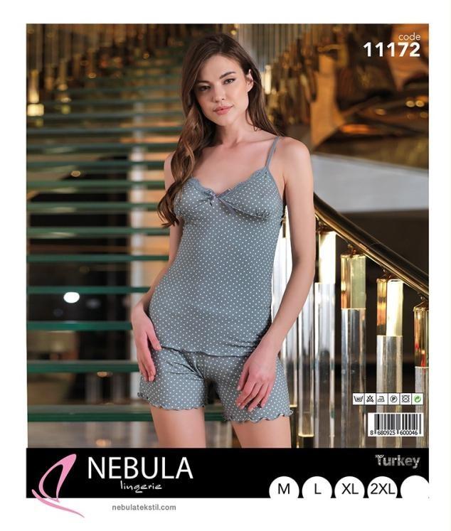 Піжама річна жіноча футболка c шортами NEBULA 11172