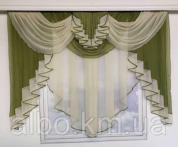 Модна фіранка ламбрекеном ALBO 200x160 см Зелена (KU-178-7)