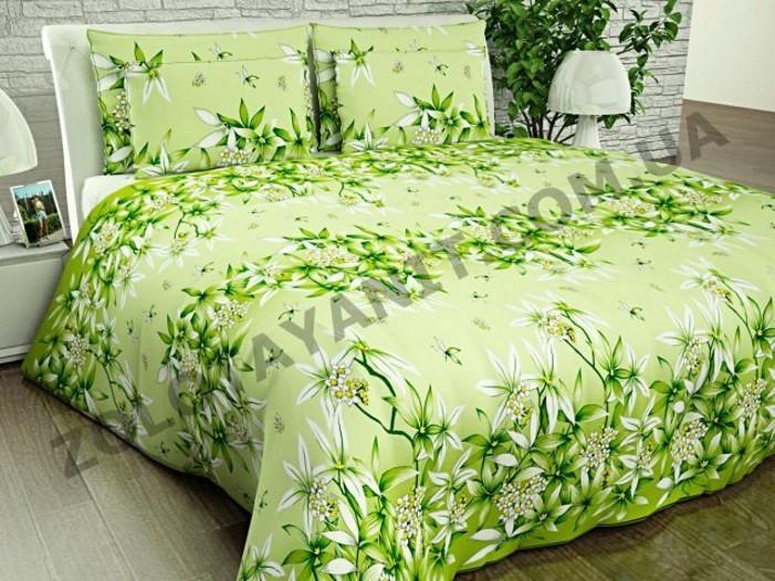 Комплект постільної білизни з поліестеру двоспальний Зелена лілія