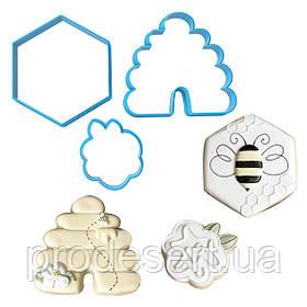 Вырубка для пряников Пчелиная ферма 4-7,5 см (3D)