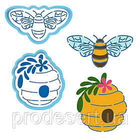 Бджілка і вулик вирубка з трафаретом 8-9 см (TR-2)